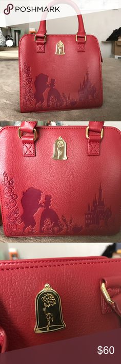 """Loungefly Beauty and the Beast Rose Purse BRAND NEW Without Tags! Beautiful red Loungefly purse celebrating the release of the live action Disney Beauty and the Beast film. One side features the Loungefly emblem with embossed leaves and swirls. The other side features a """"rose in glass"""" emblem with embossing of Beast, Beauty, Cogsworth, Lumiere, Chip, Mrs. Potts, the Castle, and some more leaves and swirls for detail.  ** Dimensions are 8""""W x 8""""H x 3""""D * Detachable crossbody strap included…"""