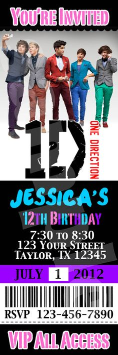 1d candy bar one direction birthday party so cute sweets one direction birthday invitation ticket card custom invites party printable diy m4hsunfo