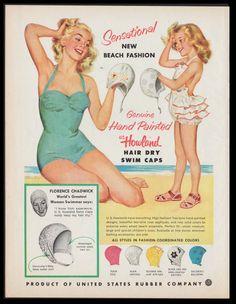 Mary Mayo Vintage Bathing Suits, Vintage Swim, Vintage Lingerie, Vintage Love, Vintage Ads, Vintage Style, Swim Caps, Vintage Cookbooks, Old Ads