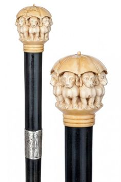 English Ivory Dachshund Cane-Ca.1900-Ivory ball kno