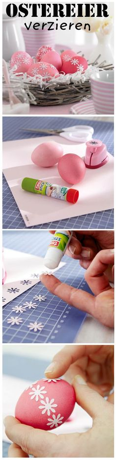 With a motif punch (for example, flowers) you can make colorful Easter eggs even prettier. Easter Crafts For Kids, Diy For Kids, Easter Activities For Kids, Easter Colors, Coloring Easter Eggs, Egg Decorating, Holiday Crafts, Diy And Crafts, Crafty
