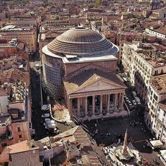 The Pantheon, Rome, Italy. Our hotel is just on the left where you can see a patio on top of the building.