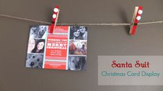 Santa Suit Clothespin Christmas Card Display