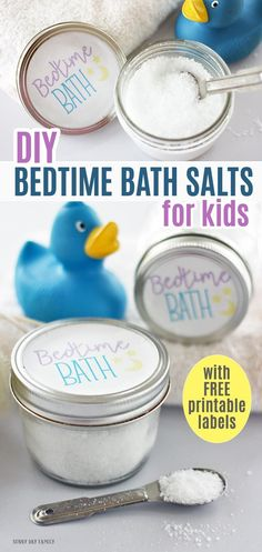 DIY bath salts made with simple ingredients and kid safe essential oils! This DIY bath salts recipe is perfect to help kids relax and makes your bedtime routine so much easier. Works great for adults too, and makes a perfect gift! Includes free printable jar labels too. #essentialoils #homemade #diy #momhacks #parenting