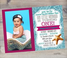 Mermaid Invitation with Photo / Picture, Girl First Birthday Invitation,  Under the Sea by SevenStoryMountain, $12.00