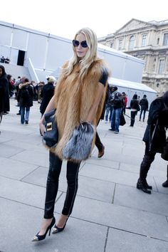 fur and leather pair of trousers
