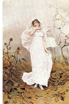 Lady in whiteVery nice English Postcard by sharonfostervintage, $5.00