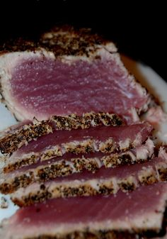 Serve seared tuna and people will think you slaved in the kitchen and created a complicated meal. Fish Recipes, Seafood Recipes, Great Recipes, Cooking Recipes, Favorite Recipes, Recipies, Dinner Recipes, Good Food, Yummy Food