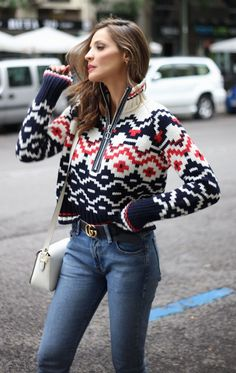 #winter #fashion /  Printed Knit + Skinny Jeans