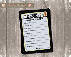 Star Wars Baby Shower Wishes for Baby (Little Jedi)  INSTANT DOWNLOAD on Etsy, $7.50