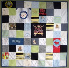 LOVE this idea for Sadie's old clothes. They also make bears out of them! Keepsake Clothes Quilt 36x36