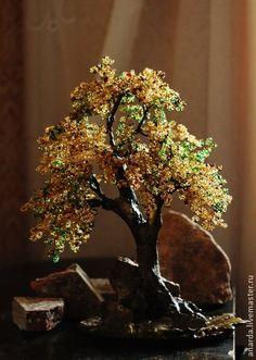 """Дерево """"Осеннее настроение"""" - золотой,осень,осеннее дерево,бисерное дерево"""
