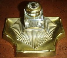 vintage inkwell  DECO style BRASS antique INKWELL.