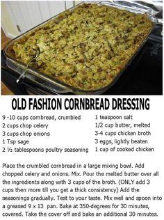Old Fashion Cornbread Dressing