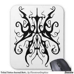 Tribal Tattoo Surreal Butterfly Mouse Pad