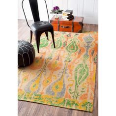 Give your room a classy yet casual feel by adding this contemporary ikat rug to your decor. This jute rug has a low pile, making its style stand out while still providing comfort for your sensitive feet.