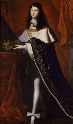 Philippe de France, Monsieur, duc d'Orléans, à l'âge de 14 ans, en 1654, dans l'habit de duc de Bourgogne, premier Pair de France, qu'il portait au sacre de son frère Louis XIV, d'après Juste d'Egmont