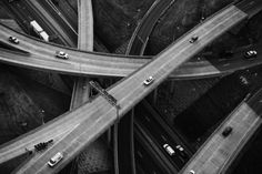 Aerial view of highway road network Photography Essentials, City Photography, Aerial Photography, Amazing Photography, Black And White City, Black And White Pictures, Photo Pattern, Street Photo, Aerial View