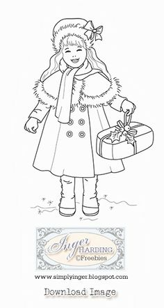 Free Digital stamp -Vintage Christmas Girl by Inger Harding