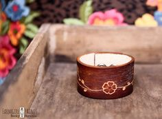 CUSTOM HANDSTAMPED CUFF - bracelet - personalized for you by farmgirl paints - brown leather cuff with embossed floral design