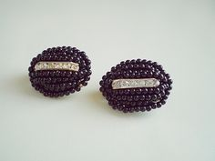 Vintage 80's Large Black Beaded Oval White CZ Gold Tone Clip Earrings by FoxJewelryBoutique