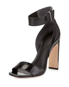 9d0718fcdc66 Halston Heritage - Marylan Mirrored-Leather Flat-Heel Sandal Black High  Heel Sandals
