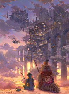 Anime picture original kaitan tall image short hair black hair sitting sky cloud (clouds) signed tail animal tail from behind city evening sunset hieroglyph fantasy city lights headwear removed fishing 504311 en Fantasy City, Fantasy Places, Fantasy Kunst, Fantasy World, Fantasy Concept Art, Fantasy Artwork, Fantasy Art Landscapes, Landscape Art, Arte Obscura
