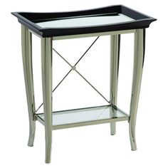 Chairside table with a nickel-plated base. Features a wood and glass tray top and lower shelf.    Product: Chairside table