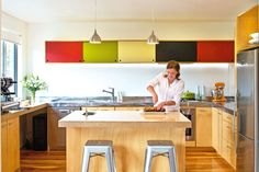 multi-coloured cupboards - 'Beach style'