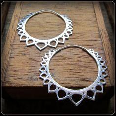 Silver tribal lotus flower hoop earrings  fake by TalismanaDesigns