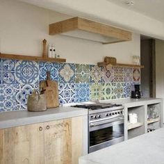 + kitchen 58 Ideen Küche Backsplash Wallpaper sunflowers are other options that are sure to Kitchen Wall Decals, Kitchen Vinyl, Kitchen Wall Tiles, Kitchen Backsplash, New Kitchen, Colourful Kitchen Tiles, Patterned Kitchen Tiles, Little Kitchen, Backsplash Ideas