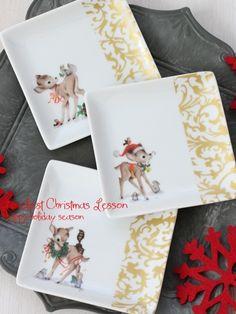 cuteなクリスマスのポーセラーツ作品♡の画像   *東京・広尾・恵比寿*ポーセラーツとフラワーアレンジメントのお教室 L…