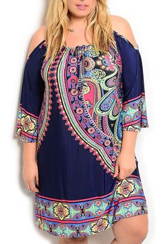 DHStyles Womens Navy Fuchsia Plus Size Trendy Slinky Paisley Cold Shoulder Dress