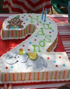 little pumpkin grace: Animals on Parade {Birthday Party with Friends} 2 Year Old Birthday Cake, Number Birthday Cakes, Baby Boy Birthday Cake, Baby Boy Cakes, Birthday Parties, Birthday Cards, Number 2 Cakes, Number 3, Elephant Birthday Cakes