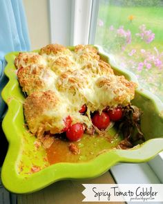 Spicy Tomato Cobbler - caramelized onions, 2 cheeses, jalapenos, basil, amazing!