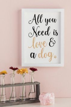 Love And A Dog Framed Wall Decor- gift-cllifestyle