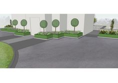 Design visual for House Entrance with Formal planted areas comprising Buxus Borders, mixed Herbaceous Planting, Specimen Trees and granite stone. Making a distinctive impression every time. we design - we build - we care www.owenchubblandscapers.com Garden Landscape Design, Landscaping Design, Garden Landscaping, Specimen Trees, Buxus, Granite Stone, House Entrance, Planting, Stepping Stones
