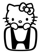 Hello Kitty Honda car themed decal