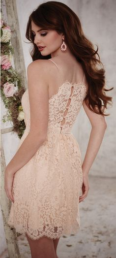 SPRING 2016 // Style 22699 | This charming lace short gown is embellished with imitation pearl and diamonds at the waist and scalloped eyelash lace rimming the hem sweetheart neckline and raised back. Supported by spaghetti straps this dress also has a button-up back with cute button loops #ChristinaWuCelebration #Bridesmaids #ChristinaWu #SpringWedding