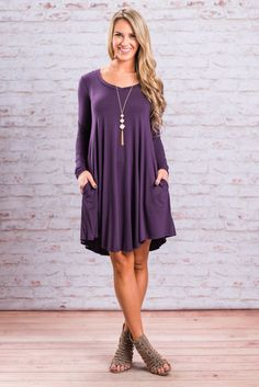"""""""Sweeter Than Dessert Dress, Plum""""This may be the most beautiful casual little jersey knit dress we've ever seen. That color is stunning!! #newarrivals #shopthemint"""