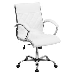 Mid-Back Designer White Leather Executive Office Chair with Chrome Base GO-1297M-MID-WHITE-GG