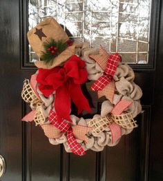 Burlap Snowman Christmas Wreath with Burlap by SimplyBlessedGift