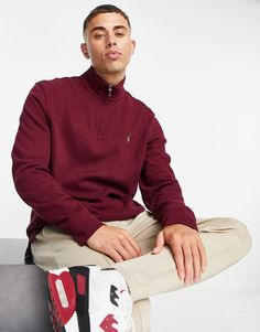 Polo Ralph Lauren icon logo half zip sweatshirt in burgundy Polo Ralph Lauren Sweatshirt, Nike Pullover Hoodie, Hoodie Sweatshirts, Sweat Shirt, Marken Logo, Zip Up Hoodies, White Hoodie, Bordeaux, Zip Ups