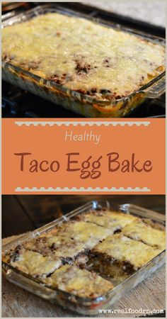 Healthy Taco Egg Bake Recipe - Make your life even easier with this healthy bake. You can even make it ahead of time and just throw it into the oven about an hour before you want to eat. Make a double batch and freeze for later! #tacoeggbake #glutenfree