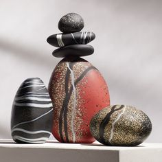 Redstone Cairn Grouping by Melanie Guernsey-Leppla (Art Glass Sculpture) Pebble Painting, Pebble Art, Stone Painting, Rock Painting, Rock Sculpture, Metal Wall Sculpture, Sculpture Ideas, Clock Art, Rock Decor