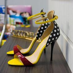 80e47dcfa Cecconello polka dot red yellow ankle stripe summer sandals