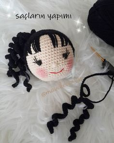 Let's give her the hair LemI've uploaded videos about planting hairs on the head and creating tulips an - Crochet Hair Styles Crochet Doll Pattern, Crochet Toys Patterns, Amigurumi Patterns, Amigurumi Doll, Doll Patterns, Crochet Eyes, Crochet Girls, Crochet Dragon, Doll Tutorial