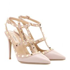 Valentino - Rockstud leather pumps - Valentino's 'Rockstud' pumps are equal parts elegant and edgy. Coated in light pink grainy leather, this studded pair will work for day and evening alike. seen @ www.mytheresa.com