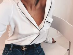Pyjama top, ripped jeans and belt - lush