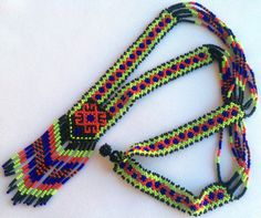 Mexican Huichol Beaded Necklace by Aramara on Etsy